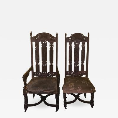 Ornate Carved Pair of Chinese Figural Victorian Chairs