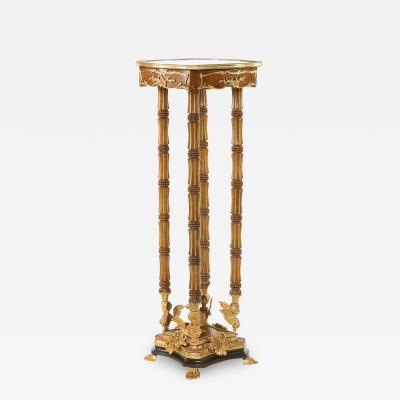 Ornately Gilt Bronze Mounted Fruitwood Pedestal Table