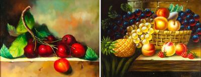 Ornately Pair of Wood Framed Oil Paintings Fruit Still Life