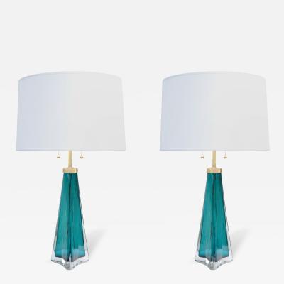 Orrefors Pair of Orrefors Modernist Art Glass Table Lamps
