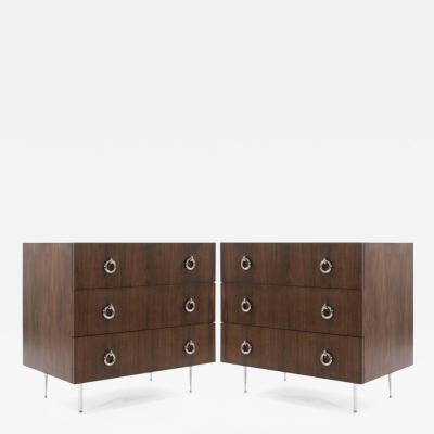 Orrefors Walnut Chests of Drawers on Nickel Legs