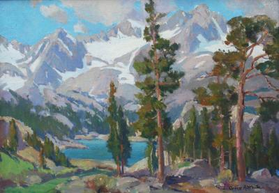 Orrin Augustine White Sierra Lake with Pine Trees