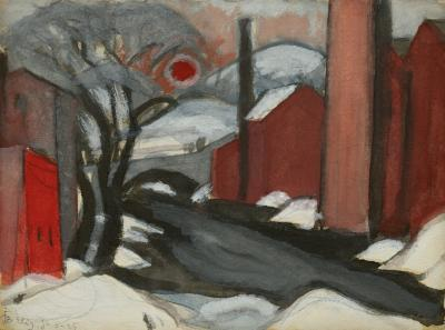 Oscar Bluemner Study Winter Sun Mill Creek Elizabeth New Jersey