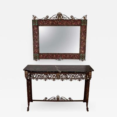 Oscar Bruno Bach Bronze and Wrought Iron Console Table and Mirror