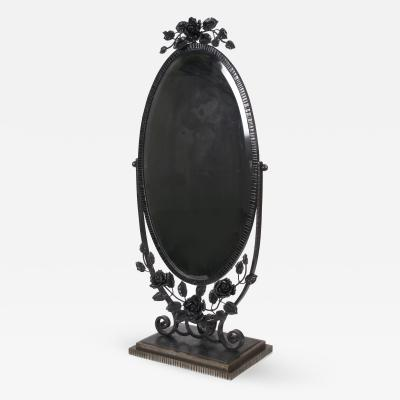Oscar Bruno Bach French Art Deco Period Wrought Iron Table Mirror in the Style of Oscar Bach