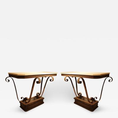 Oscar Bruno Bach Pair of Art Deco Console Tables In Iron