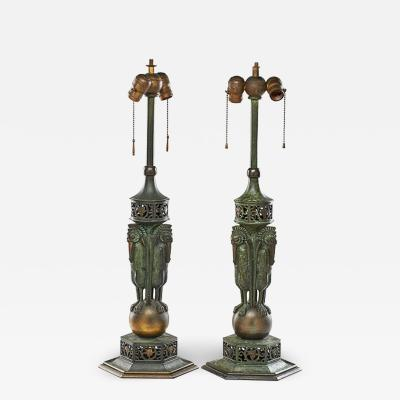 Oscar Bruno Bach Rare pair of bronze patinated table lamp by Oscar Bruno Bach