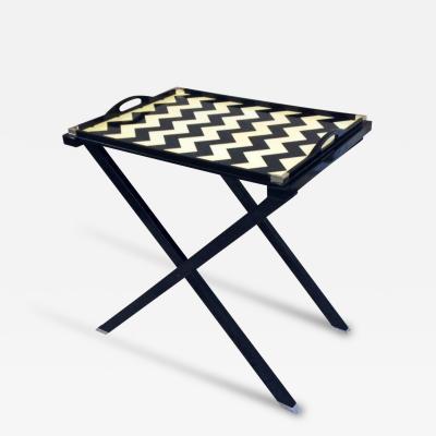 Oscar De La Renta Oscar De La Renta Black and Cr me Lacquered Tray Table