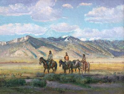 Oscar Edmund Berninghaus Indians Crossing the Mesa at Taos 1949