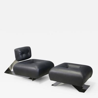 Oscar Niemeyer Oscar Niemeyer MidCentury Armchairs and Ottoman Model Aran of 1970s