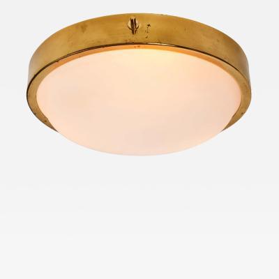 Oscar Torlasco 1950s Brass and Glass Ceiling Light by Oscar Torlasco for Lumi