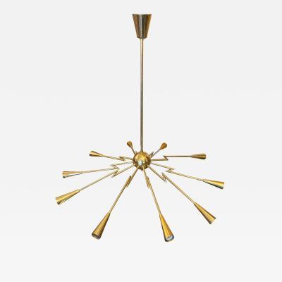 Oscar Torlasco 1960s Mid Century Modern Oscar Torlasco Attributed Sputnik Brass Chandelier
