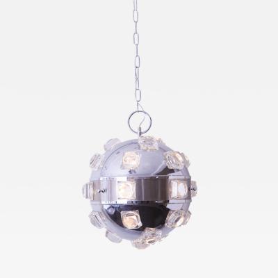 Oscar Torlasco 1960s Oscar Torlasco Chrome and Glass Hanging Light Pendant