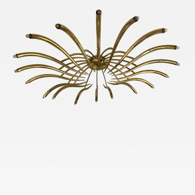 Oscar Torlasco Brass Ceiling Chandelier model 391 by Oscar Torlasco for Lumi Italy 1960s