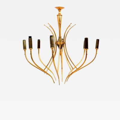 Oscar Torlasco Elegant Airy Chandelier Eight Arms Warm Brass by Oscar Torlasco 1950s Italy
