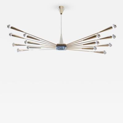 Oscar Torlasco Gold Plated Lumi Chandelier Re Edited for Gaspare Asaro