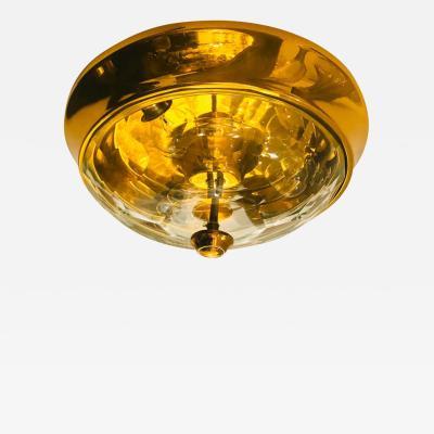Oscar Torlasco Golden Oscar Torlasco Lumi Crystal 1970s Italian Flush Ceiling Light