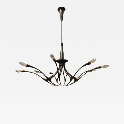 Oscar Torlasco Modernist patinated brass chandelier by Oscar Torlasco