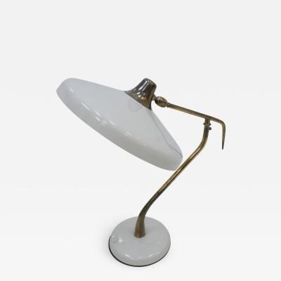 Oscar Torlasco Oscar Torlasco Mid Century Modern White Steel And Brass Table Lamp Italy 50s