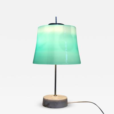 Oscar Torlasco Oscar Torlasco MidCentury Table Lamps in cased glass and marble aluminum 1960s