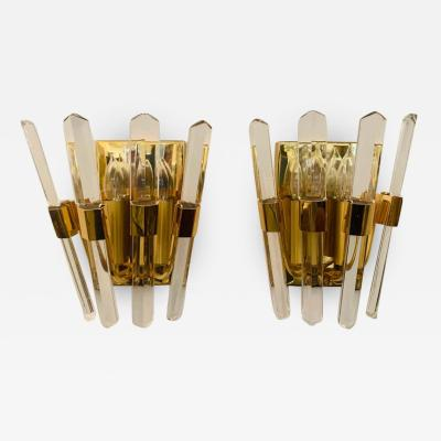 Oscar Torlasco Pair of 1970s Oscar Torlasco Golden Crystal Wall Lights