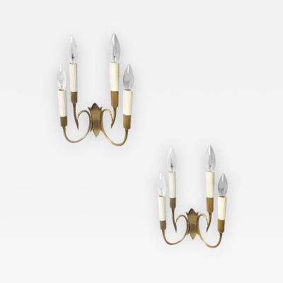 Oscar Torlasco Pair of Four Light Brass Sconces by Oscar Torlasco