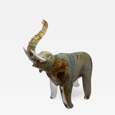Oscar Zanetti Elephant in Calcedonia Glass
