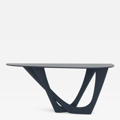 Oskar Zieta G Console Duo Table in Brushed Stainless Steel with Concrete Top by Zieta
