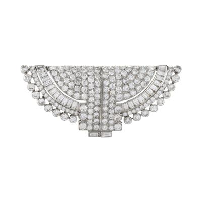 Osterag Osterag Paris Art Deco Diamond Platinum Double Clip Brooch