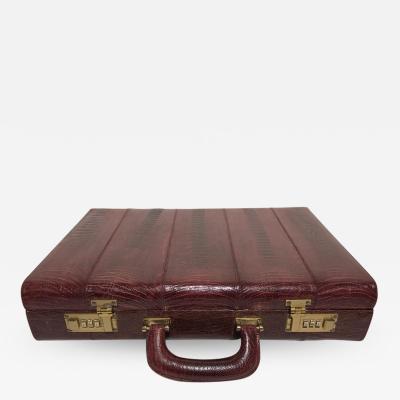 Ostrich Skin Mens Briefcase Attach Vintage Burgundy Suede Interior