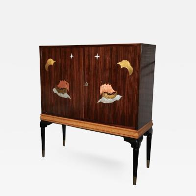 Osvaldo Borsani 1940s Macassar Ebony and Burl Wood Bar Cabinet by Osvaldo Borsani