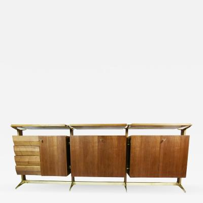 Osvaldo Borsani 1950s Bronze and Italian Walnut Sideboard Palazzi Dell Arte Exhibition Piece