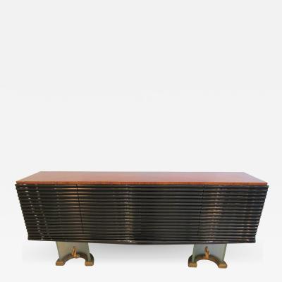 Osvaldo Borsani A Fine Zebrawood Laquer Glass Bronze Sideboard Credenza Osvaldo Borsani