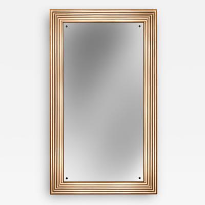 Osvaldo Borsani Attributed Italian Painted Parcel Gilt Illuminated Mirror for Atelier Borsani