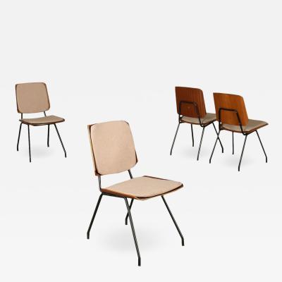 Osvaldo Borsani Group Of Four Chairs Osvaldo Borsani Tecno Plywood Italy 1950s 1960s