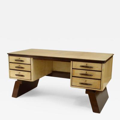 Osvaldo Borsani Italian 1940s Parchment Veneer Desk