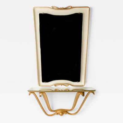 Osvaldo Borsani Italian Mid Century white and gold painted mirror and console by Osvaldo Borsani