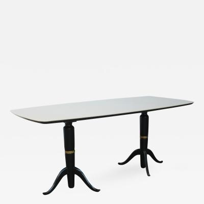 Osvaldo Borsani Large Dining Table in Ebonized Mahogany and Cream Glass Osvaldo Borsani