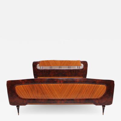 Osvaldo Borsani Lavish Italian Exotic Burlwood Bed by Osvaldo Borsani Milan Italy 1950s