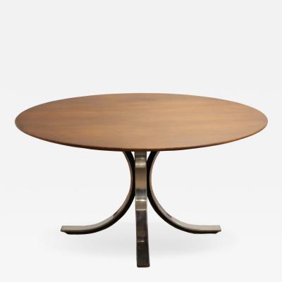 Osvaldo Borsani Mid Century Modern Osvaldo Borsani Round Dining Table Walnut Chrome Italian