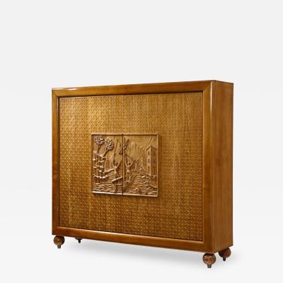 Osvaldo Borsani Mid Century Modern carved front cabinet by Osvaldo Borsani