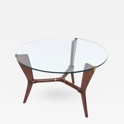 Osvaldo Borsani Midcentury Osvaldo Borsani Italian Modern Walnut Brass and Glass Table