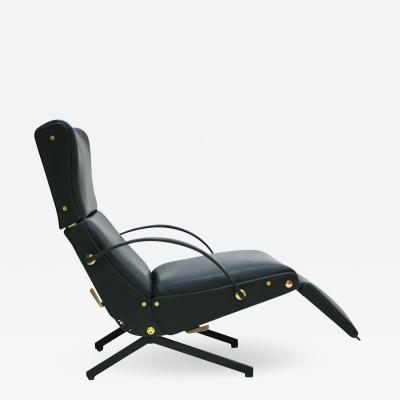 Osvaldo Borsani Osvaldo Borsani Black Leather And Brass P40 Signed Chaise Longue Italy 50s