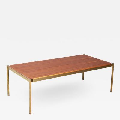 Osvaldo Borsani Osvaldo Borsani For Tecno Coffee Table Mid Century in brass and wood 1950s