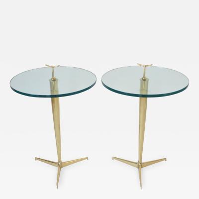 Osvaldo Borsani Osvaldo Borsani Italian Brass and Glass Side Tables c1960
