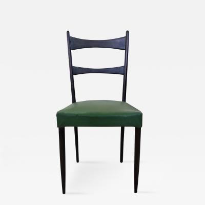 Osvaldo Borsani Osvaldo Borsani Italian Mid Century Set of Six Black and Green Chairs 1950s