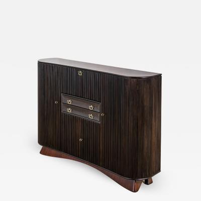 Osvaldo Borsani Osvaldo Borsani Large Cabinet in Dark Wood and Brass Handles 40s
