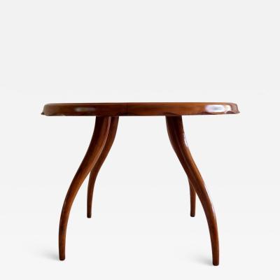 Osvaldo Borsani Osvaldo Borsani Midcentury Blond Walnut Round Coffee Table 1940