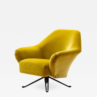 Osvaldo Borsani Osvaldo Borsani P32 Lounge Chair in Ochre Yellow Velvet for Tecno Italy 1956