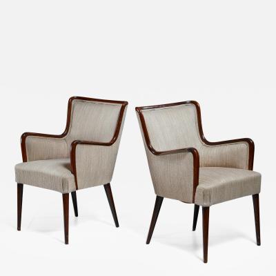 Osvaldo Borsani Osvaldo Borsani Pair of Rare Side Chairs Italy 1940s